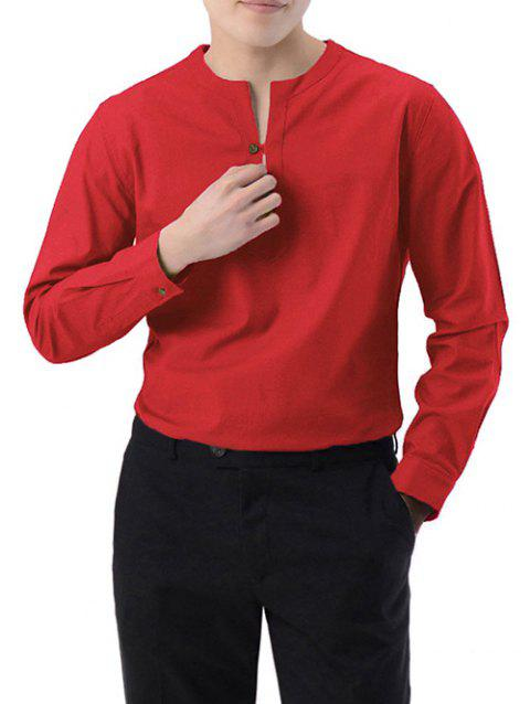Casual Long Sleeve Solid Shirt - RED 2XL