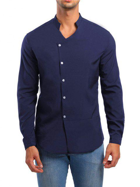 Solid Stand Collar Button Up Shirt - CADETBLUE M
