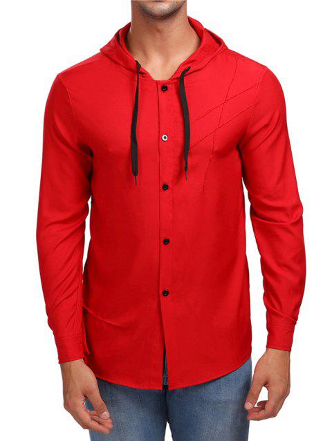 Solid Button Up Hooded Shirt - RED L