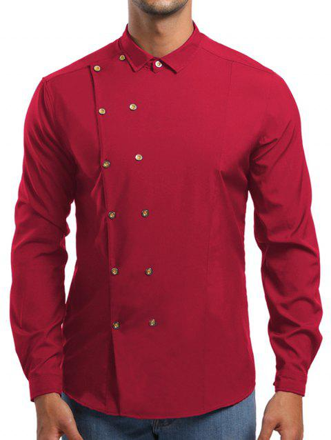 Double Breasted Turn Down Collar Shirt - RED L