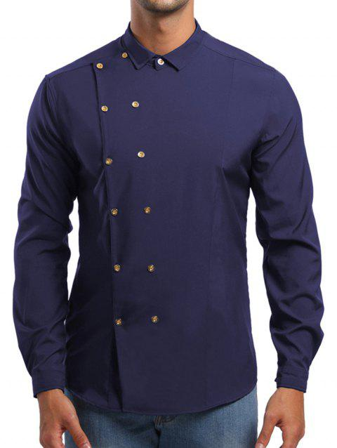 Double Breasted Turn Down Collar Shirt - CADETBLUE L