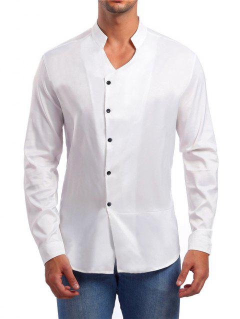 Solid Stand Collar Button Up Shirt - WHITE M
