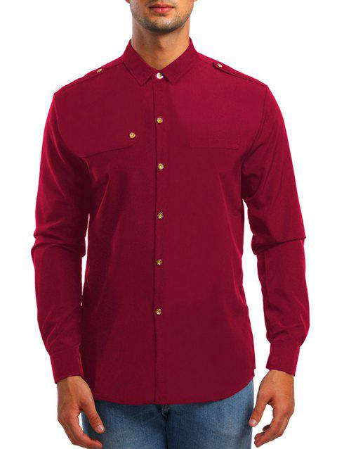 Epaulet Design Long Sleeve Shirt - RED M