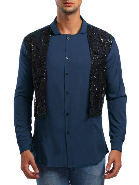 Faux Twinset Lace Panel Shirt - CADETBLUE XL