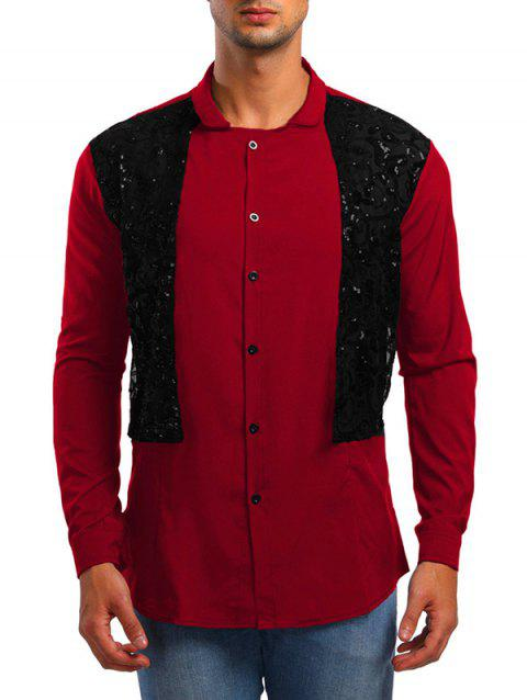 Faux Twinset Lace Panel Shirt - RED M