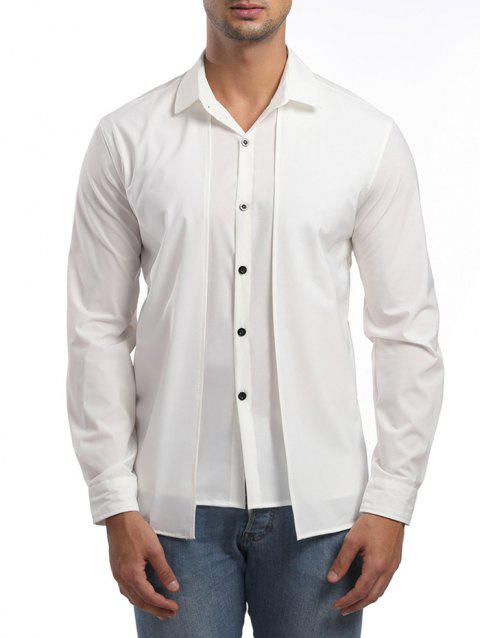 Faux Twinset Long Sleeve Shirt - WHITE L