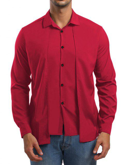Faux Twinset Long Sleeve Shirt - RED XL