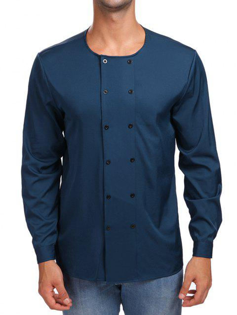 Solid Double Breasted Long Sleeve Shirt - CADETBLUE M