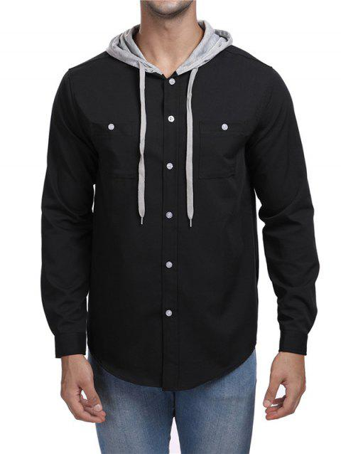 Panel Hooded Long Sleeve Shirt - BLACK 2XL