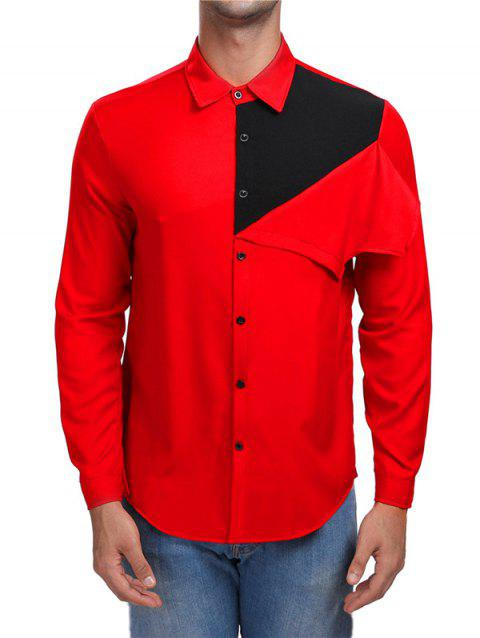 Contrast Color Button Up Casual Shirt - RED 2XL