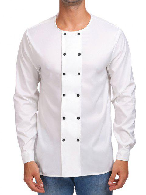 Solid Double Breasted Long Sleeve Shirt - WHITE M