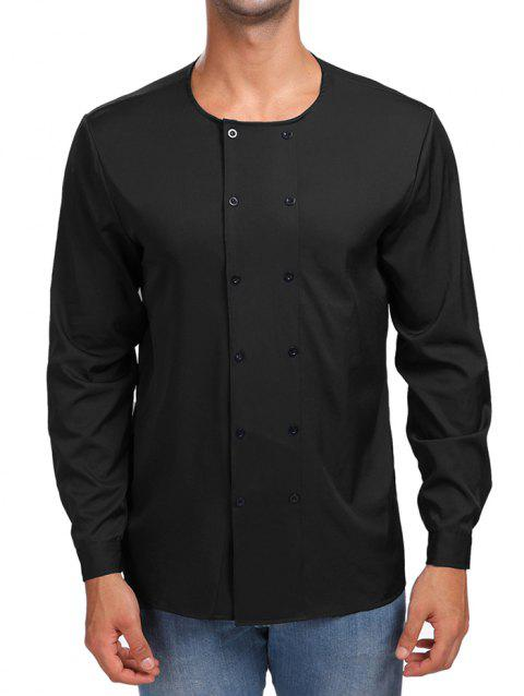 Solid Double Breasted Long Sleeve Shirt - BLACK M