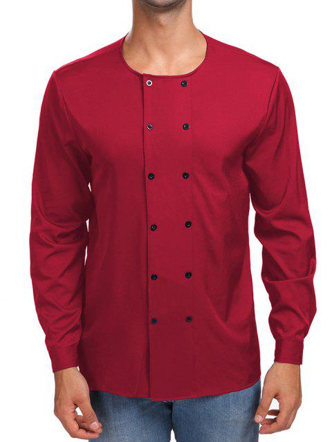 Solid Double Breasted Long Sleeve Shirt - RED L