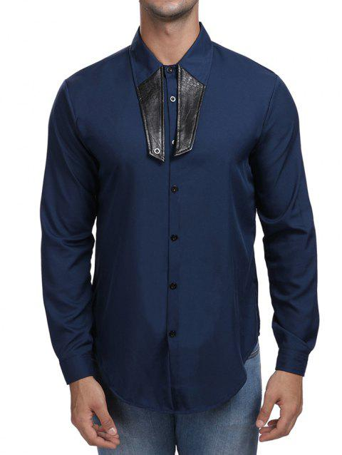 Contrast Color Turn Down Collar Shirt - CADETBLUE XL