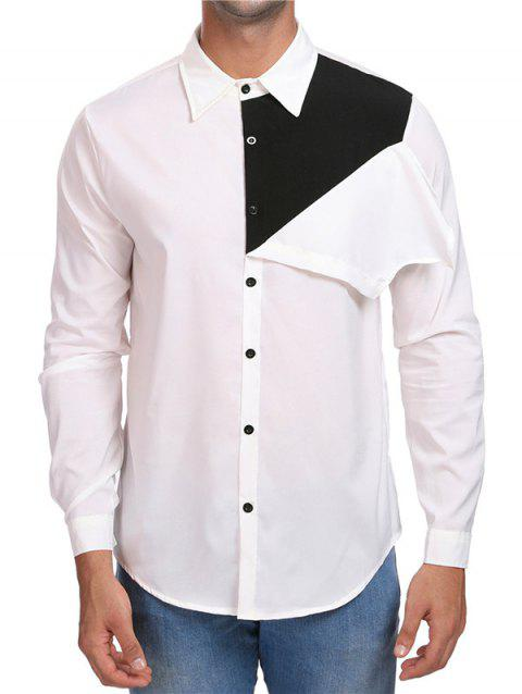 Contrast Color Button Up Casual Shirt - WHITE M