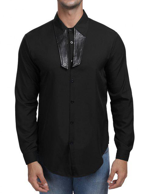 Contrast Color Turn Down Collar Shirt - BLACK L