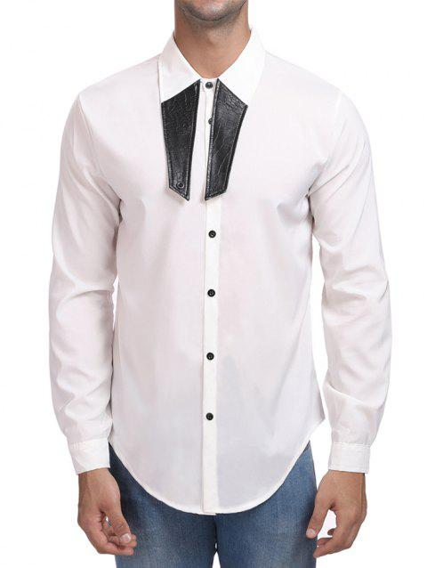 Contrast Color Turn Down Collar Shirt - WHITE 2XL
