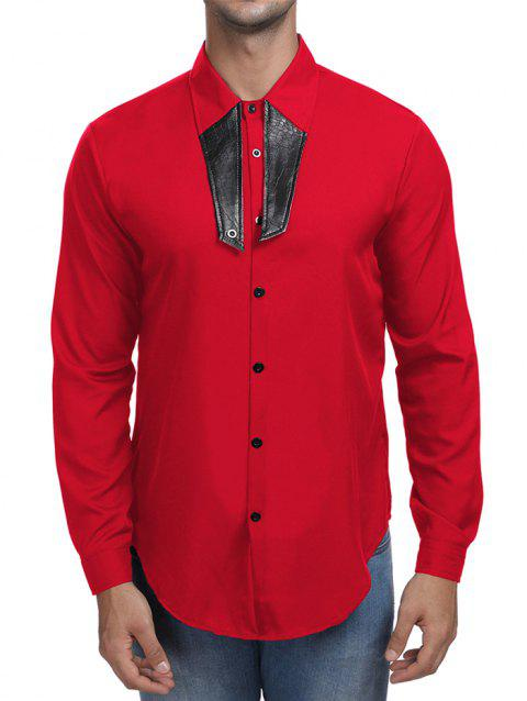 Contrast Color Turn Down Collar Shirt - RED 2XL