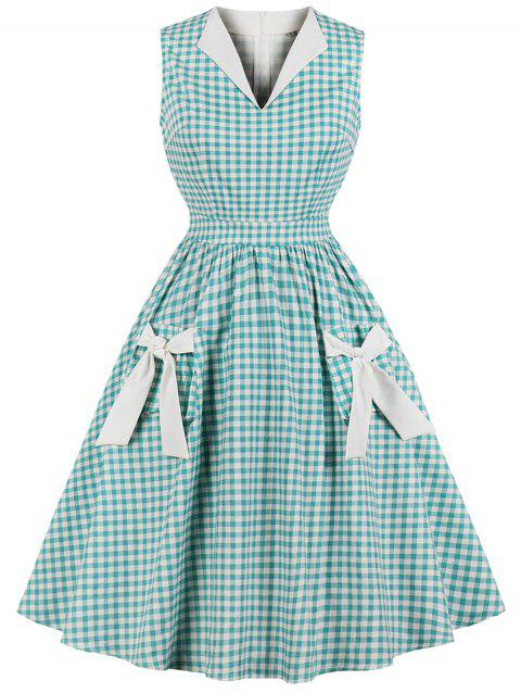 Retro Gingham Bowknot Flare Dress - TRON BLUE S