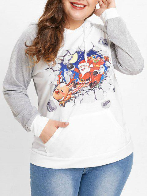 Plus Size Raglan Sleeve Christmas Hoodie - LIGHT GRAY 4X