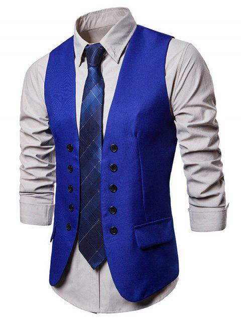 Double Breasted Embellished Solid Color Waistcoat - BLUEBERRY BLUE 2XL