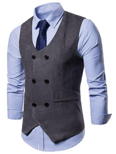 Solid Color Double Breasted Waistcoat - CARBON GRAY L