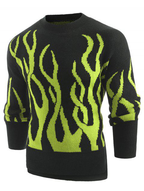 Plant Print Long Sleeve Pullover Sweater - GREEN XL