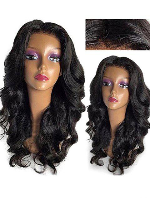 Long Middle Part Wavy Human Hair Lace Front Wig - NATURAL BLACK 18INCH