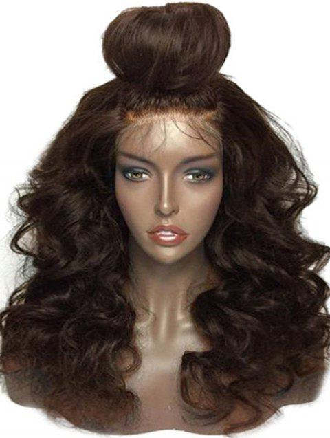 Medium Free Part Body Wave Lace Front Human Hair Wig - BROWN 16INCH