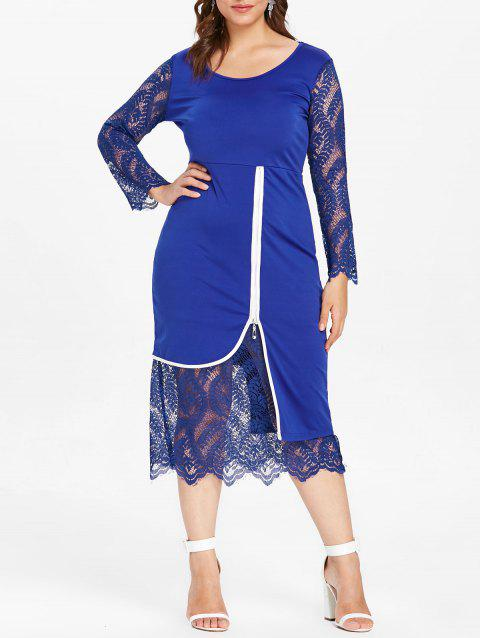 Plus Size Lace Insert Midi Bodycon Dress