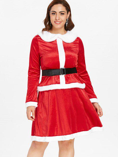 70% OFF] 2019 Plus Size Christmas Two Piece Dress In RED | DressLily