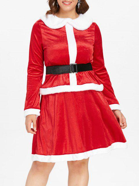 Plus Size Christmas Two Piece Dress - RED 4X