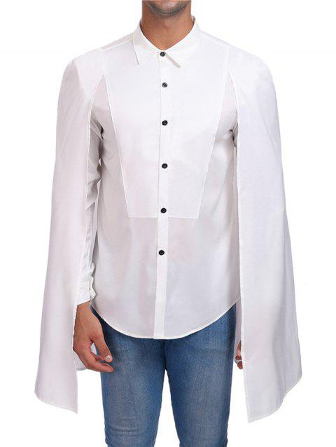 Solid Punk Long Sleeve Cloak Shirt - WHITE M