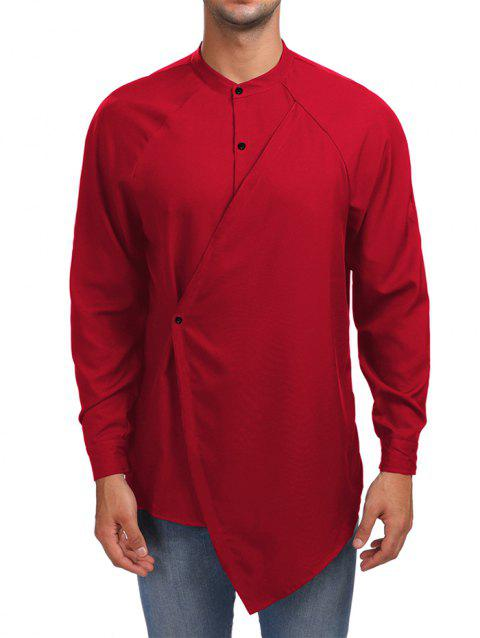 Faux Twinset Solid Asymmetric Shirt - RED 2XL