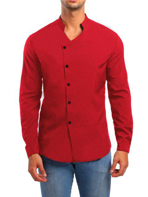 Solid Stand Collar Button Up Shirt - RED M