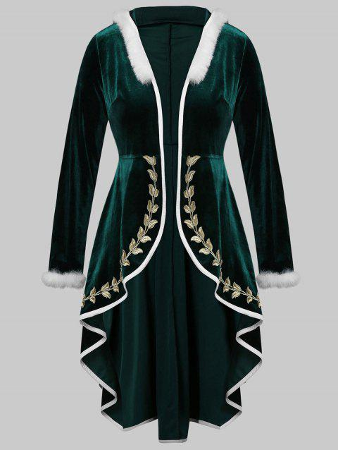 Plus Size Embroidery Hooded Midi  Xmas Velvet Coat - MEDIUM SEA GREEN 3X