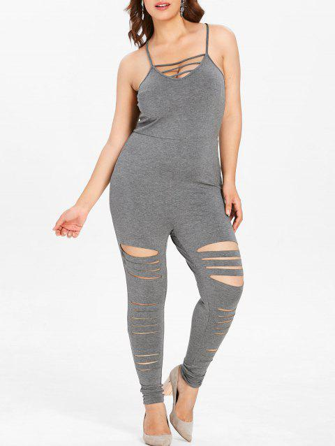 Plus Size Sleeveless Ripped Cami Jumpsuit - DARK GRAY 1X