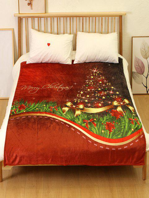 Christmas Tree Printed Flannel Soft Blanket - multicolor W59 X L79 INCH