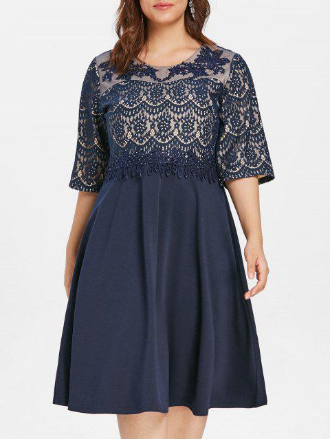 Plus Size Lace Panel Rhinestone Embellished Knee Length Dress - DEEP BLUE 2X