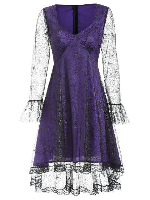 Spider Web Lace Halloween Dress - PURPLE IRIS XL