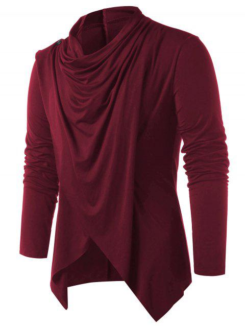 Convertible Asymmetrical Cardigan - RED WINE L