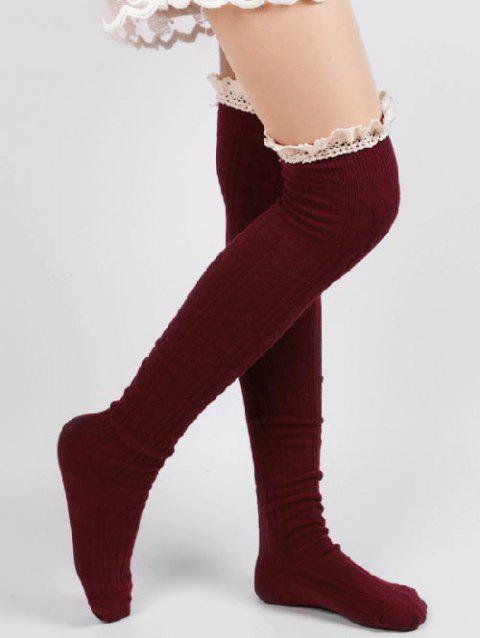 Cute Solid Color Lace Thigh Stockings - RED WINE