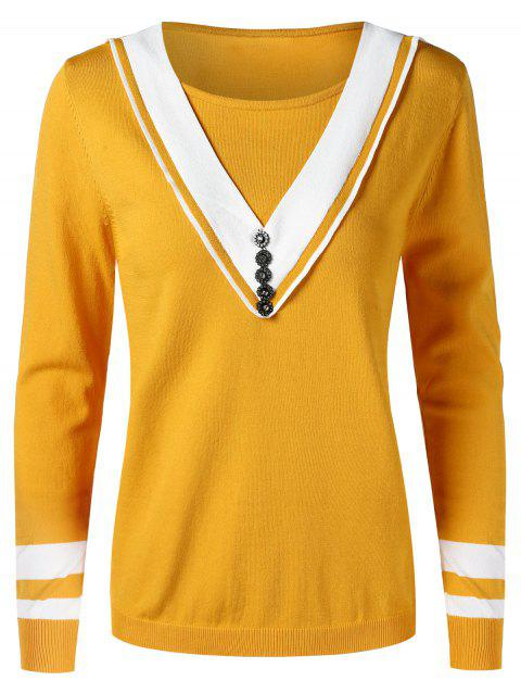 Buttons Embellished Cricket Knitwear - BEE YELLOW ONE SIZE