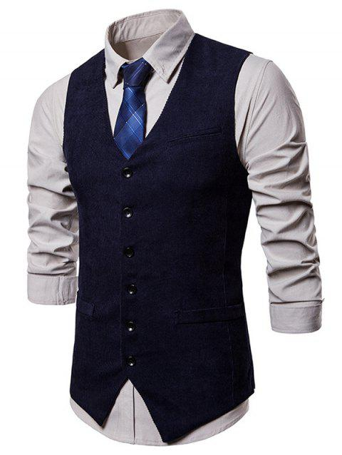 Side Split Design Single Breasted Waistcoat - CADETBLUE L