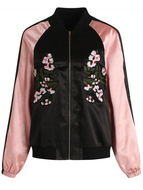 Zip Fly Embroidery Baseball Jacket - BLACK M