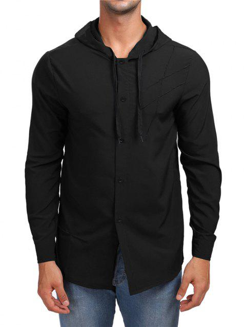Solid Button Up Hooded Shirt - BLACK M