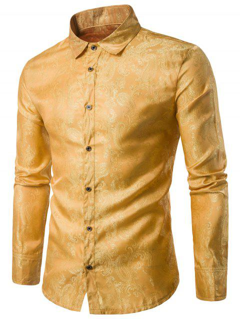 Casual Long Sleeve Paisley Vintage Shirt - GOLDEN BROWN M