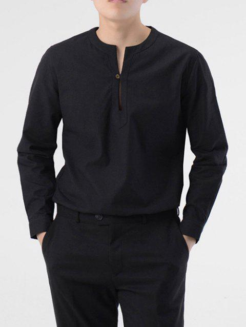 Casual Long Sleeve Solid Shirt - BLACK 2XL