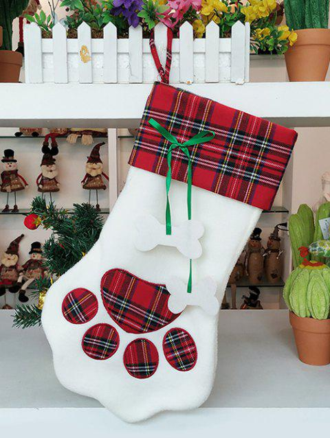 Pet Claw Print Christmas Gift Stocking Decoration - LAVA RED