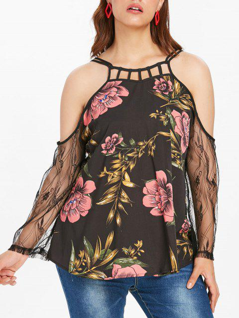 Plus Size Floral Lace Top with Cold Shoulder - multicolor 4X